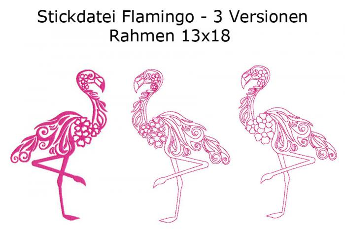 Stickdatei Flamingo in 3 Varianten Rahmen 13x18