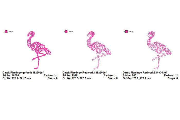 Stickdatei Flamingo in 3 Varianten Rahmen 18x30