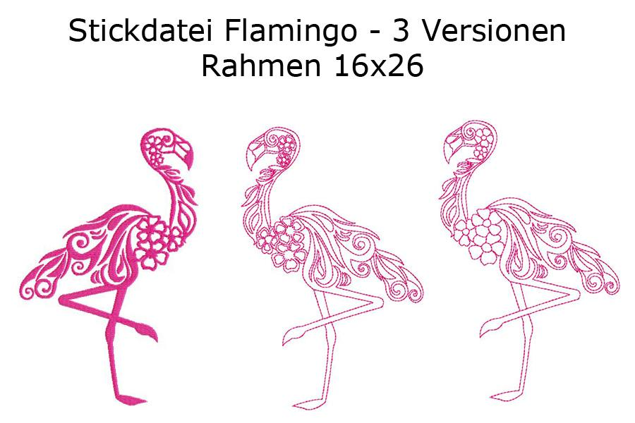 Stickdatei Flamingo in 3 Varianten Rahmen 16x26