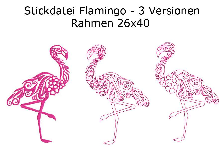 Stickdatei Flamingo in 3 Varianten Rahmen 26x40